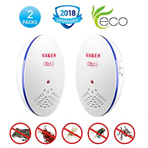 Gakus Ultrasonic Pest Repeller Plug in Pest Control Repellent Indoor (2 Pack) 2018 NEWEST MODEL Repels Insects Mosquitoes Mice Rats Ants Spiders Fleas Roaches - Child & Pet Safe