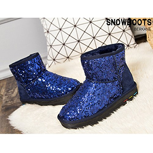 Grey Classic Winter BERTERI On Black Boot Women's Type Pull Blue Snow Paillette Blue Pink Christmas 5qOpBxAwO