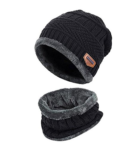 Kids Winter Warm Hat Scarf Knitted Hat with Soft Fleece Lined Beanie Cap.YR.Lover - Winter Fleece Scarf