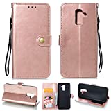 Ostop Samsung Galaxy A6 Plus Leather Wallet Case,Rose Gold Classic Oil Wax PU Stand Purse Credit Card Slots Holder Flip Stylish Simple Cover Retro Metal Clasp Samsung Galaxy A6 Plus 2018
