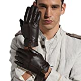 Magelier Men's Italian Genuine Sheep Nappa Leather Couple Gloves Full Palm Man Driving Glove Winter, Large, Dark Coffee
