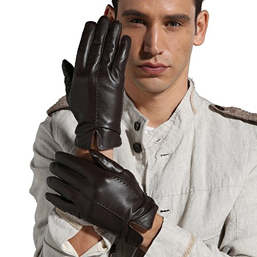 Magelier Men's Italian Genuine Sheep Nappa Leather Couple Gloves Full Palm Man Driving Glove Winter, Large, Dark Coffee by Magelier