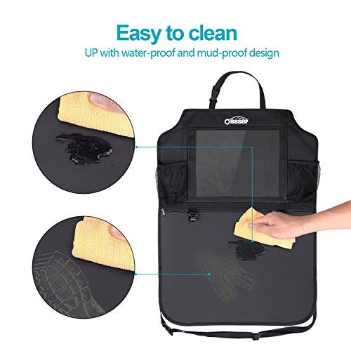 Oasser Kick Mats Car Seat Back Protectors Back of Seat Organizers 2 Pack XL with 1 Tissue Box Clear 10'' Ipad Holder 3 Large Storage Organizers by Oasser (Image #3)