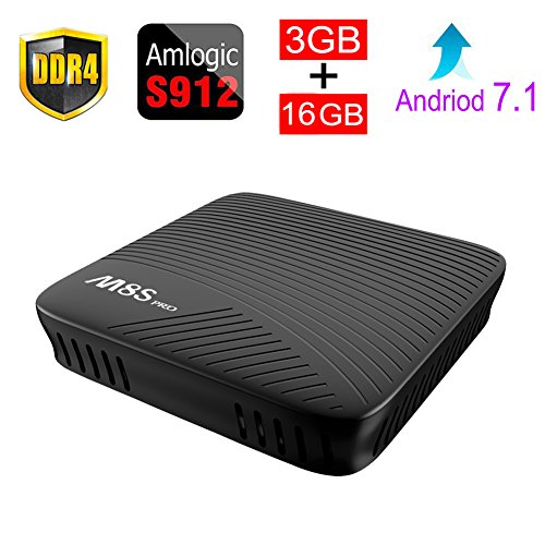 ESHOWEE M8S PRO Android 7.1 TV Box Amlogic S912 DDR4 3GB 16GB 64 bit Octa core ARM Cortex-A53 CPU up to 2 GHz Built in 2.4G/5G WiFi With Bluetooth 4.1+HS (Pro Tv Tuner)