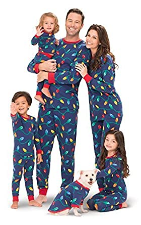 0700545ef1 Amazon.com  PajamaGram Matching Christmas Pajamas for Family - Blue ...