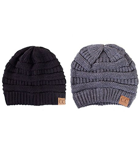 ScarvesMe Trendy Warm Chunky Soft Stretch Cable Knit Beanie (2 Pack Black/Dark Grey)