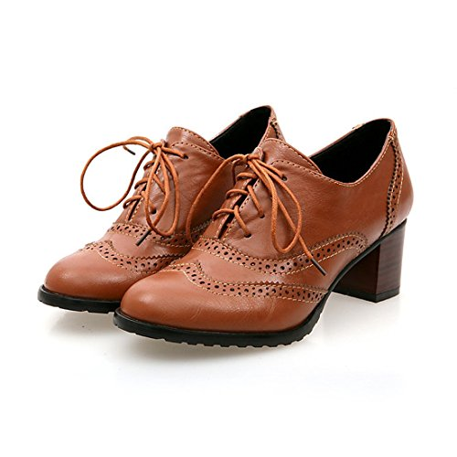 England Brogue Shoe Womens Lace-up Mid Heel Wingtip Oxfords Vintage PU Leather (Oxford Lace Up Pump Shoes)