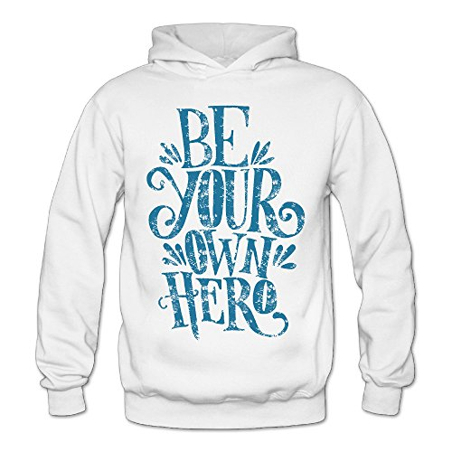 Vintage Be Your Own Hero Classic Women's Hooded Hoodies White -