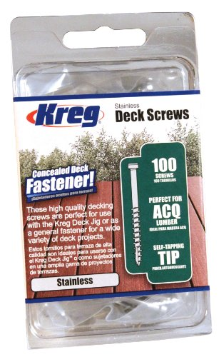 - KREG SDK-C2SS-100 2-Inch, 8 Coarse, Stainless Steel Deck Screw, 100 Ct