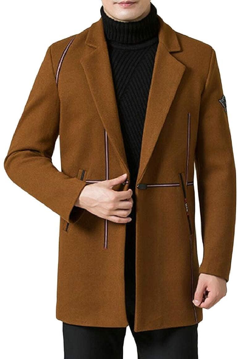Brown pujingge-CA Mens Overcoat Slim Woolen Mid Long Length Jackets Formal Trench Coat