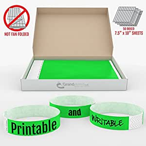 Grandstand Ink 3/4in NEON Green Tyvek Event Wristbands - Premium Quality VIP Identification Bands 500ct BOX