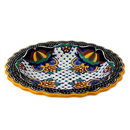 NOVICA Multicolor Floral Ceramic Serving Plate 'Zacatlan - Plate Ceramic Novica