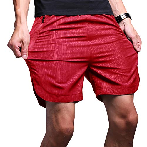b83f261943723 LTIFONE Mens Gym Quick Dry Shorts Workout Training Running Vertical Stripe  Shorts with Zipper Pocket (Red,L)