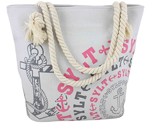 Sonia Originelli Shopper Strandtasche Kreis Anker Beach Tasche T021-Sylt (Grau-Rosa)