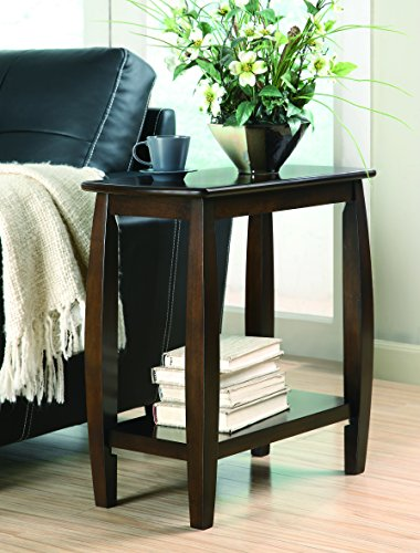 Coaster Home Furnishings Chairside Table with Bowed Legs and Storage Shelf Cappuccino