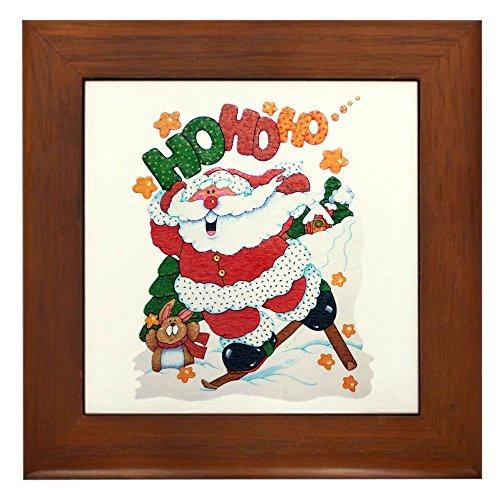 Framed Tile Merry Christmas Santa Claus Skiing ()