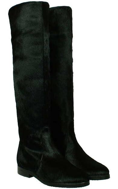 Stiefel Pony-Fell in Dunkel-Braun mit Kreppsohle- Schaftstiefel Boots Jasper