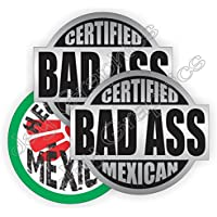 3pk BAD ASS MEXICAN + HECO Durable Vinyl Hard Hat Stickers | Safety Helmet Decals | Labels Toolbox Mexico Mechanic Laborer Carpenter Electrician Forklift Operator Heavy Equipment Crane Dozer Scaffold