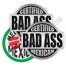 3pk BAD ASS MEXICAN + HECO Durable Vinyl Hard Hat Stickers   Safety Helmet Decals   Labels Toolbox Mexico Mechanic Laborer Carpenter Electrician Forklift Operator Heavy Equipment Crane Dozer Scaffold