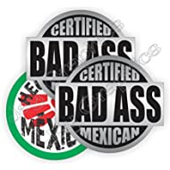 3pk BAD ASS MEXICAN + HECO Durable Vinyl Hard Hat Stickers | Safety Helmet Decals | Labels...
