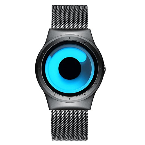 KDM Mens Black Watches Men Waterproof Unique Design Cool Wrist Watch Stainless Steel Mesh Watch for Men Blue ()