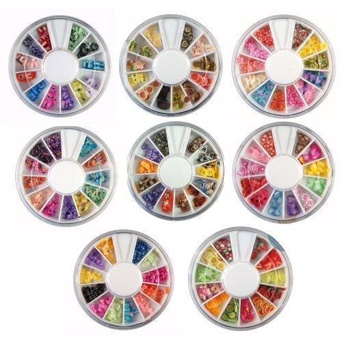 8 Wheels Combo Set Nail Art Polymer Slices Fimo Decal Pieces Accessories - Butterflies, Bows, Animals, Fruit, Flowers, Dragonflies, Cupcakes, Hearts by Come2Buy