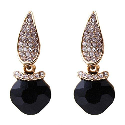 Elakaka Women's High-Grade Austrian Crystal Geometry Earrings(Black)
