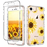 iPhone 8 Case iPhone 7 Case GUAGUA Clear Transparent Cover Sunflower Floral Printed Three Layer Hybrid Hard Plastic Soft Rubber Shockproof Protective Phone Cases for iPhone 7/8