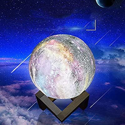 HUAXING Moon Lights Painted Stars LED3D Night Lights 8W Eye Care Touch Lamp with Dimmer 7 Level Brightness Reading Light for Bedside Study Work and More