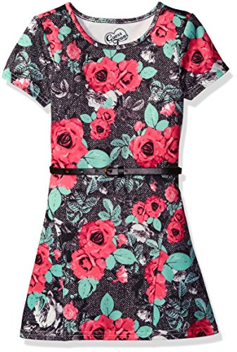 Guess Little Girls' Belted Printed Jersey Dress, Flower Lace Pink Combo, 3 (Belted Belt Lace)