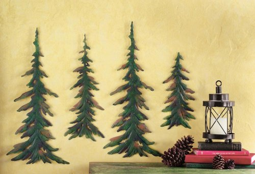 Collections Etc Evergreen Pine Tree Metal Wall Decor Set