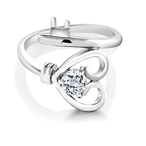 Gem Stone King 0.50 Ct Round White Topaz 925 Sterling Silver Heart Key Ring Available 5,6,7,8,9