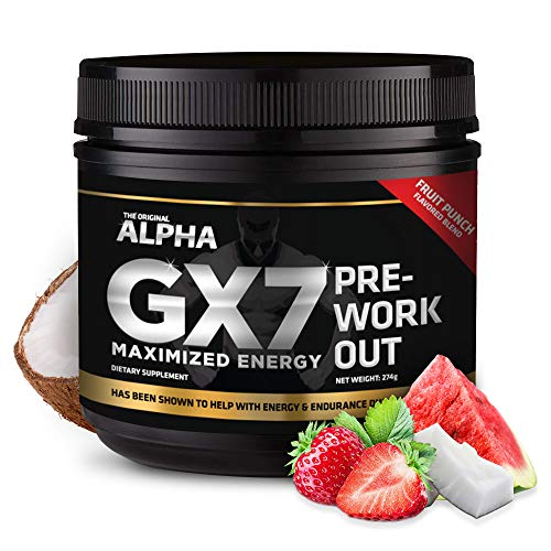 Alpha Gx7 Pre-Workout - Maximized Energy - for Workouts 274g - 30 Servings Fruit Punch Flavor