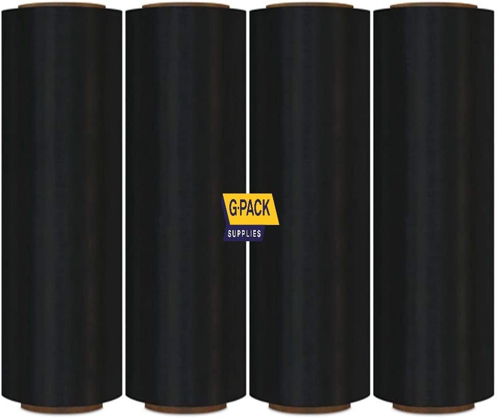 "Gpack 18"" x 1000 FT 4 Rolls – 85 Gauge Thick Stretch Film Moving & Packing Shrink Wrap. Industrial Strength, Black Plastic Pallet Shrink Film Opaque Ideal for Furniture, Boxes, Pallets."