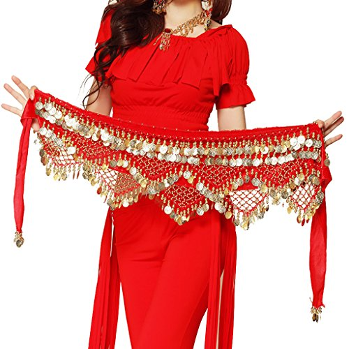 Pilot-tradeWomen's Sweet Bellydance Hip Scarf With Gold Coins Skirts Wrap Noisy Red