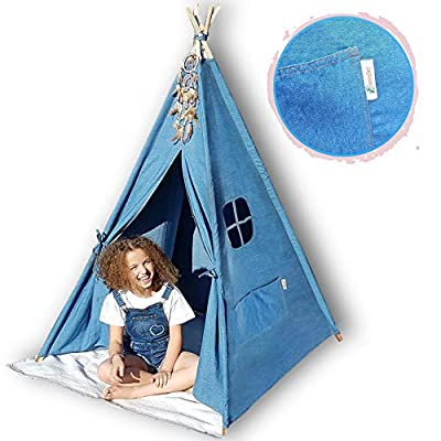 G-Eco Play Teepee Tent for Kids, Blue Denim, Children Toy Playhouse with Canvas Carry Bag, Gift for Girls and Boys Indoor and Outdoor, 4 Pole Foldable, Fun for Baby Toddler Kid Teens Room Decor: Toys & Games