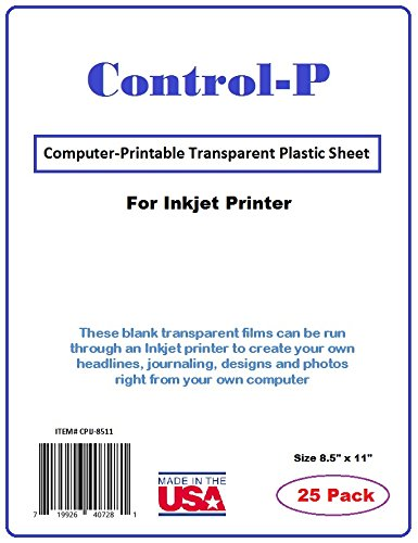 et Transparency Film / Computer Printable Transparent Plastic Sheets for Ink Jet Printer, Letter Size 8.5