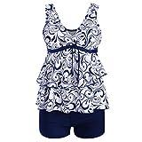 Kimloog Women V-Neck Layered Ruffles Knotted Hem Tankini Swimsuit Floral Print Beachwear with Boyshort (4XL, Blue)