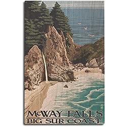 Lantern Press Big Sur Coast, California - McWay Falls (10x15 Wood Wall Sign, Wall Decor Ready to Hang)