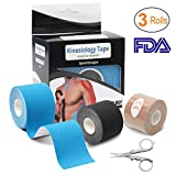 Kinesiology Tape (3 Rolls), Athletic Sports Tape Recovery Tape Elastic Therapeutic Sports Tape with Folding Scissor (2 inch x 16.4 Feet per roll) Black+Blue+Beige