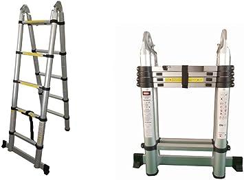 Escalera telescópica multifunción en aluminio de 3.2 M, 10 peldaños: Amazon.es: Bricolaje y herramientas