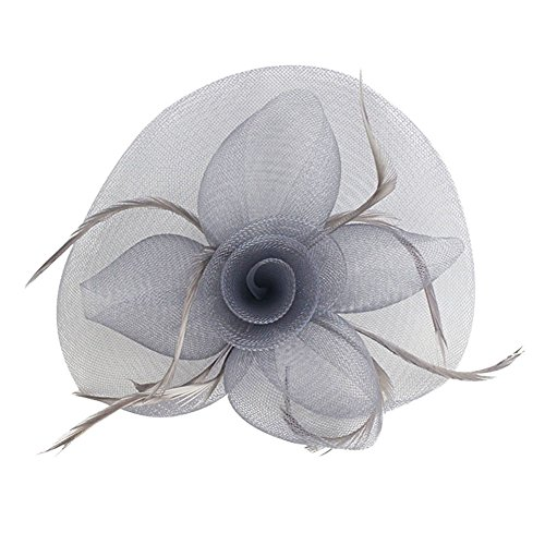 (Urban CoCo Women's Vintage Flower Feather Mesh Net Fascinator Hair Clip Hat Party Wedding (Gray))