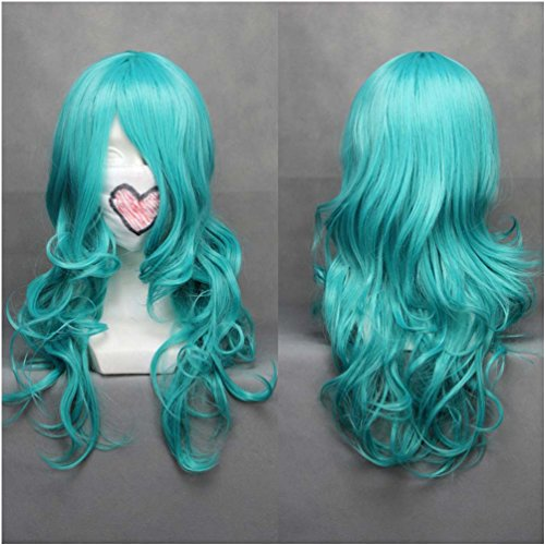 [Flovex Long Curly Wavy Light Blue Anime Cosplay Wigs Womens Ladies Natural Sexy Sailor Moon Neptune Kaiou Michiru Costume Party Daily Hair with Wig] (Nice Sailor Costumes)