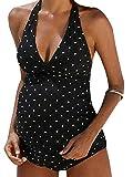 Foucome Maternity Maternity Wrap Front One-Piece Swimsuits Pregnant Women Black White Polka Dot Bathingwear