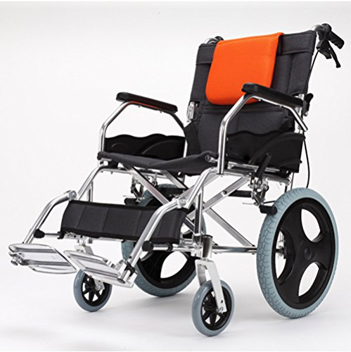 """(Folding Wheelchair Thickening Aluminum Alloy Manual Wheelchair with Flip-Back Ergonomic Armrests Front Rigging Options and Elevating Leg Rests Pedal for Extra Comfort 18"""" Seat-LABJ)"""
