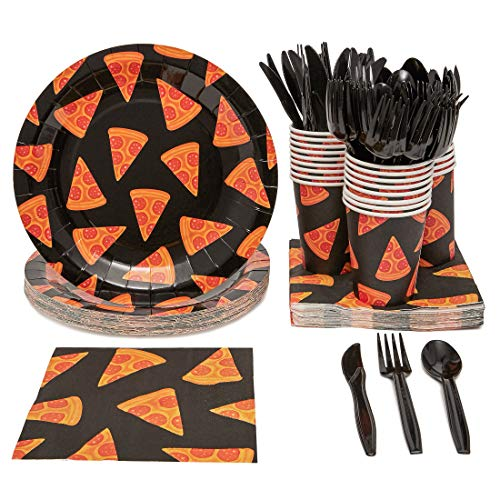 Juvale Pizza Birthday Party Supplies Pack - Serves 24 - Includes Knives, Spoons, Forks, Plates, Napkins, and Cups]()