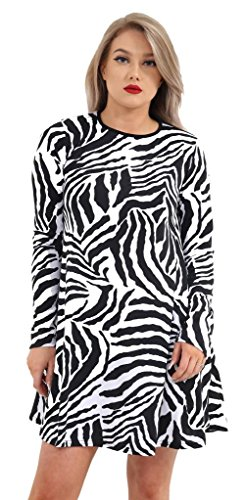 Used, R KON Ladies Women Zebra Print A-Line Long Sleeve Flared for sale  Delivered anywhere in USA