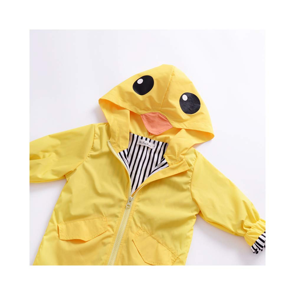 YOUNGER TREE Toddler Baby Boy Girl Duck Raincoat Cute Cartoon Hoodie Zipper Coat Outfit (Yellow, 80) by YOUNGER TREE (Image #7)