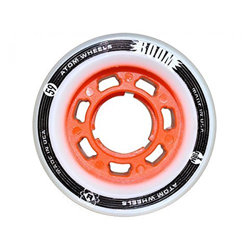 ATOM Boom Nylon Solid Core Quad Roller Skate Wheels - Available in 59x38 or 62x44 sizes and 3 hardnesses (Firm, X-Firm, XX-Firm) (Orange - X-Firm, 59mm - 8 pack)