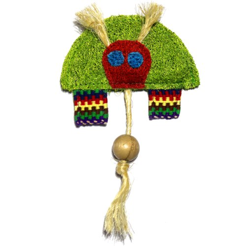 Eco-Loofah Ethnic Maka Tenuki Bull Turtle Cat Toy, Light Green